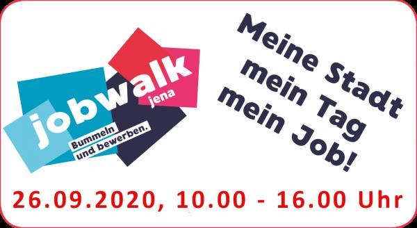 Der Jobwalk ist Deutschlands große Open-Air-Job- und Karrieremesse und bietet mit 100 Aufstellern im Herzen Jenas viele Chancen und Kontakte sowohl für Besucher als auch für Arbeitgeber.