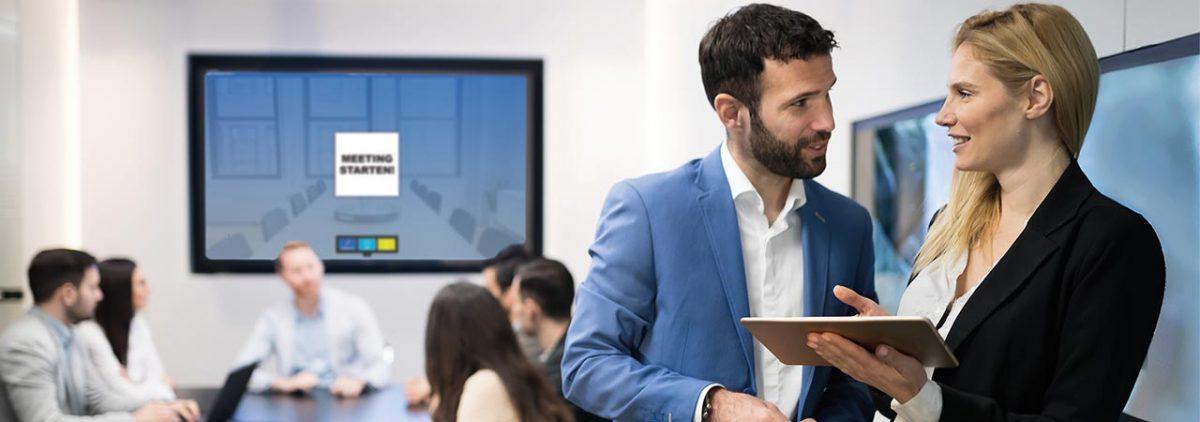 Die Anwendungen von SmartPerform Pro ermöglichten grenzenlose Präsentationen und Kollaborationen für Besprechungen, Konferenzen und Kollaborationen im Raum, mit Standorten oder mit Mitarbeitern im Homeoffice.