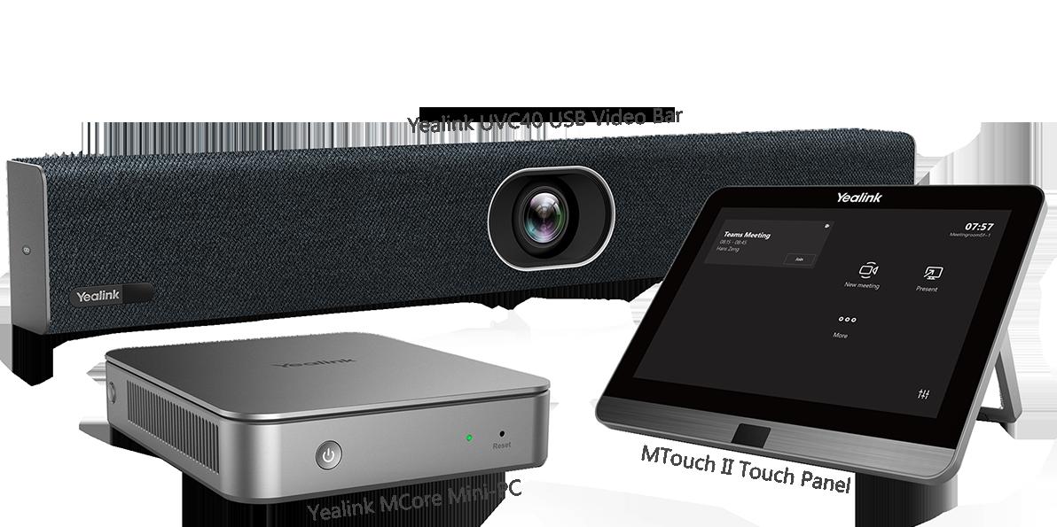 Mit Yealink MVC400 einfach den Besprechungsraum betreten und die geplante Team- oder Skypebesprechung für Unternehmen mit einem One-Touch-Beitritt beginnen.