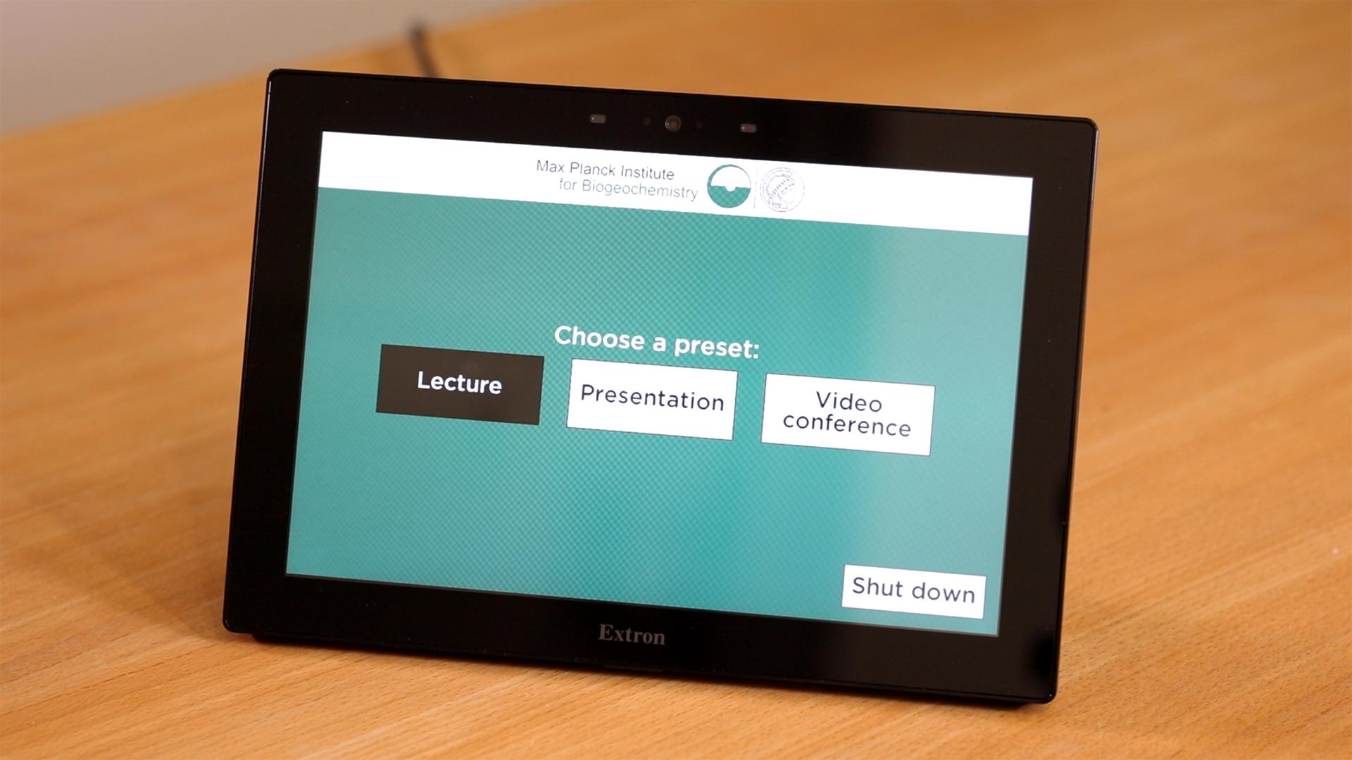 Touchpad Kontroller im Hörsaal in Max-Planck Institut für Biogeochemie in Jena