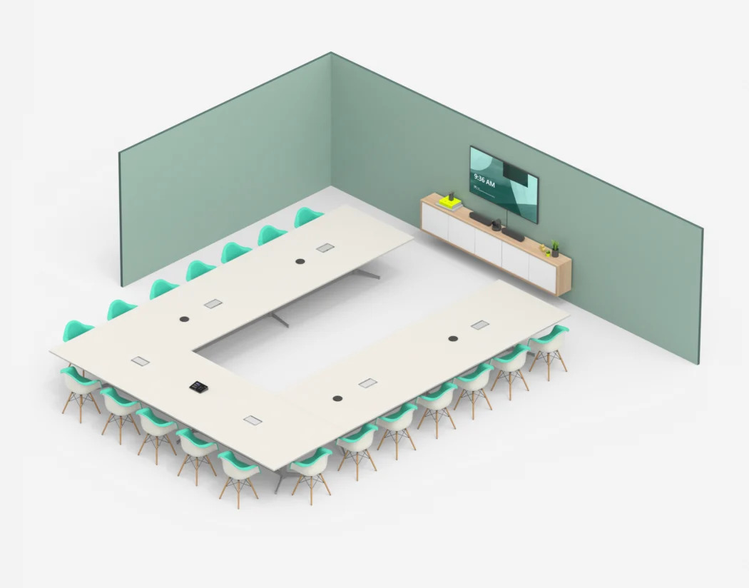 Mit U-förmiger Tisch in großen Konferenzraum